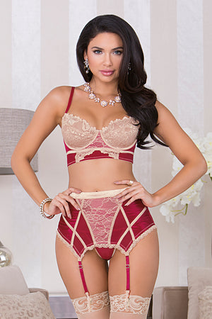 Longline Red Wine / Beige Lace Bra Set