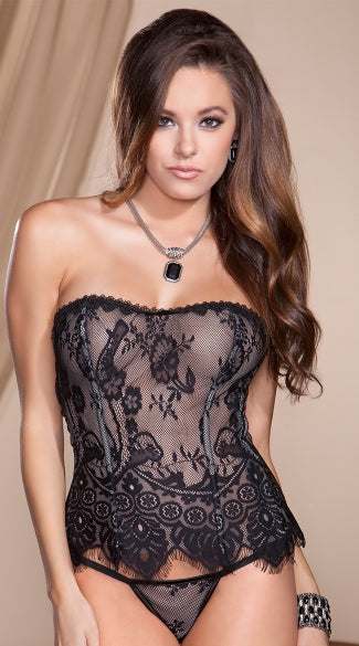 Sweet Heart Eyelash Lace Corset Set