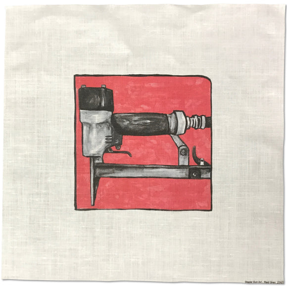 Staple Gun on Linen
