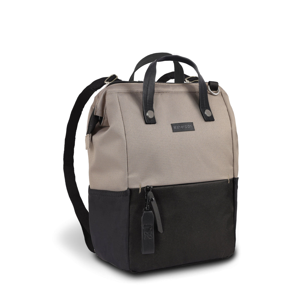 Light tan Handbag/Crossbody/Backpack (3/4 Side) made with recycled materials