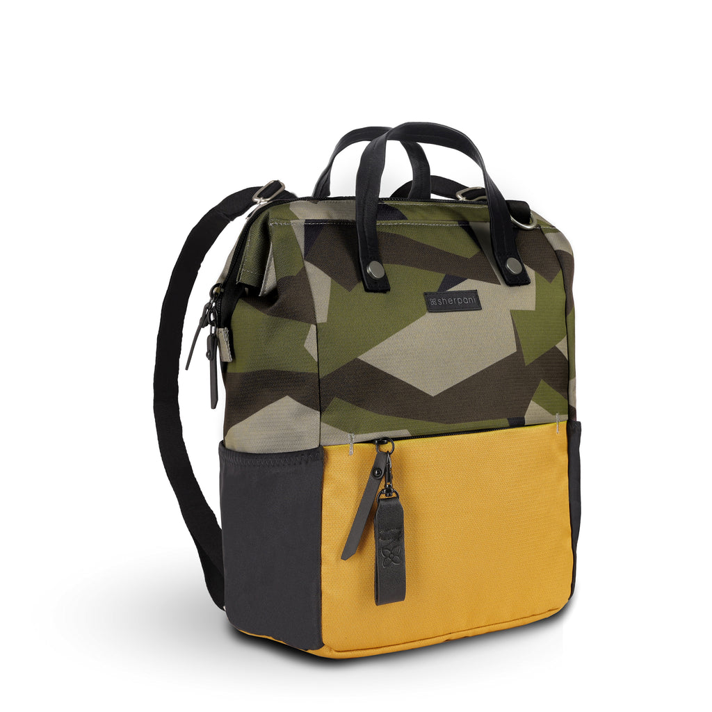 Camo & Yellow Handbag/Crossbody/Backpack (3/4 Side) made with recycled materials