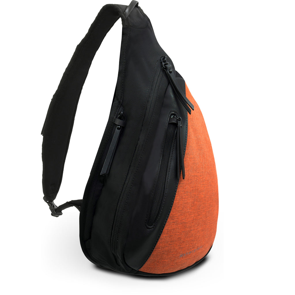 Orange Anti-theft Sling bag/ Crossbody backpack (3/4 Side) with anti-theft features
