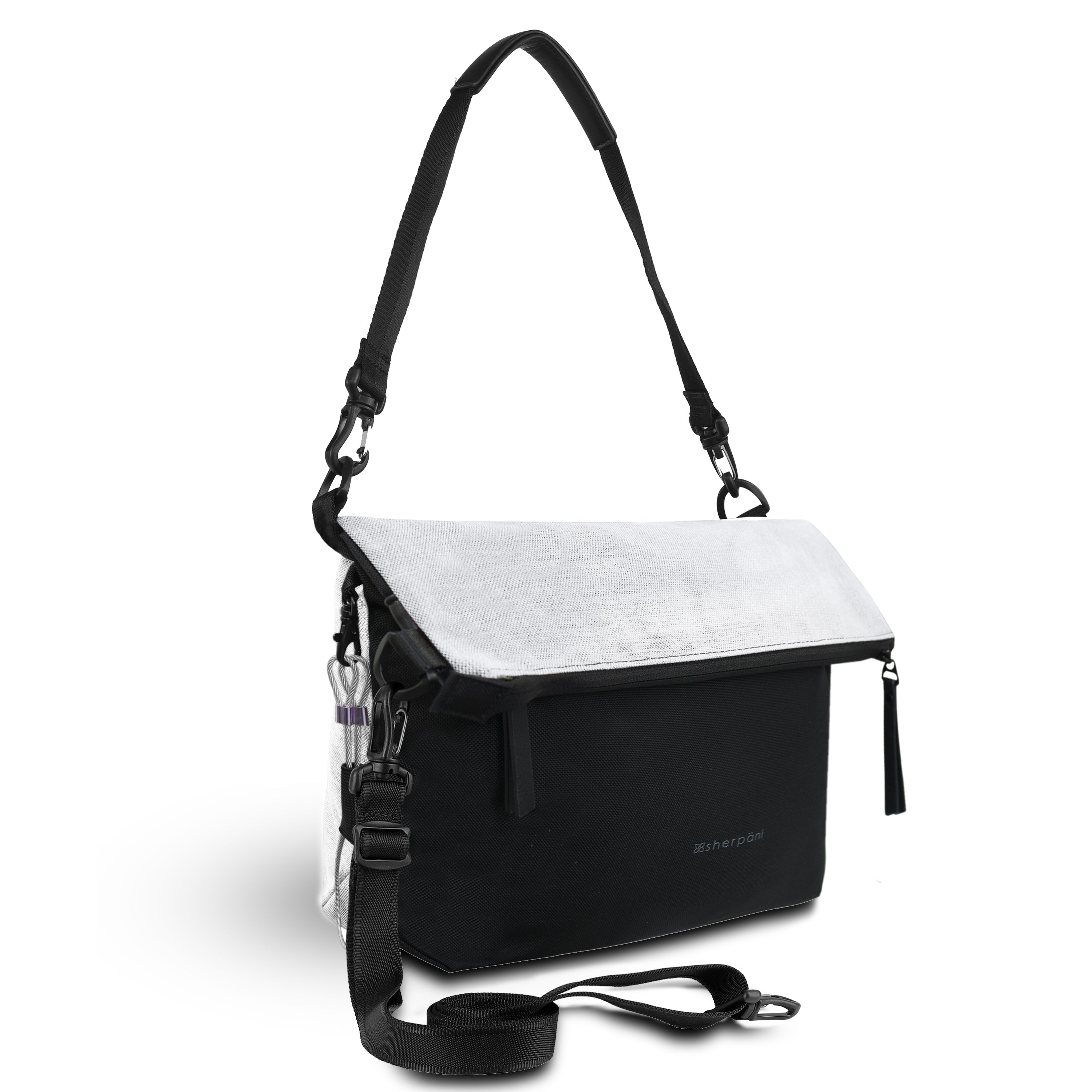 White Anti Theft Reversible Crossbody (3/4 Side) with anti-theft features
