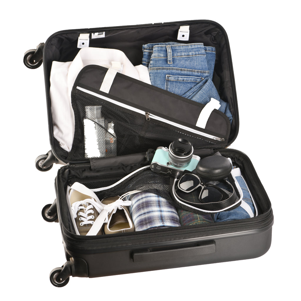 Green Crushproof Carryon Luggage (with stuff) made with ultra lightweight materials
