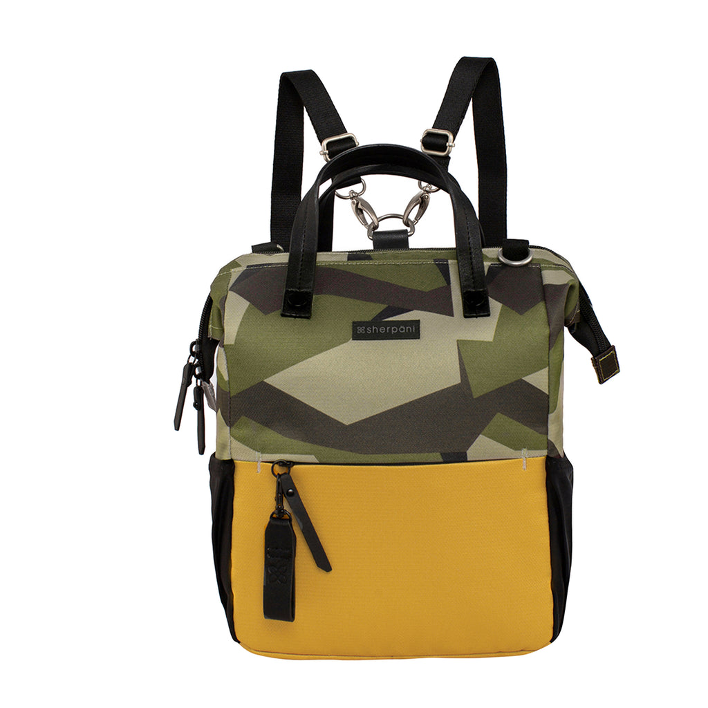 Camo & Yellow Handbag/Crossbody/Backpack (front view) made with recycled materials