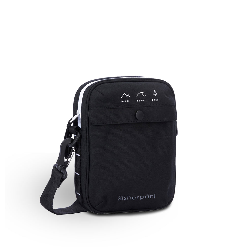 Black Mini Crossbody (3/4 Side) made with recycled materials