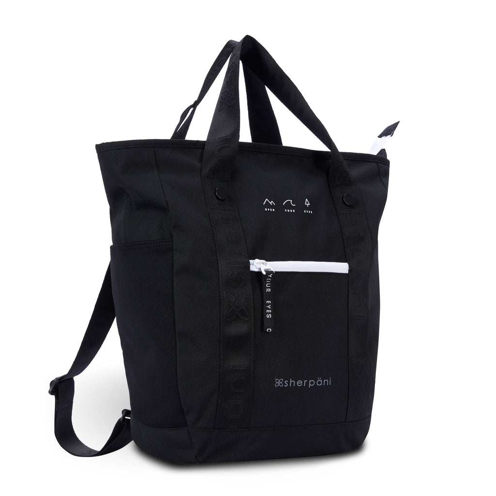 Black Convertible Backpack and Tote (3/4 Side) made with recycled materials