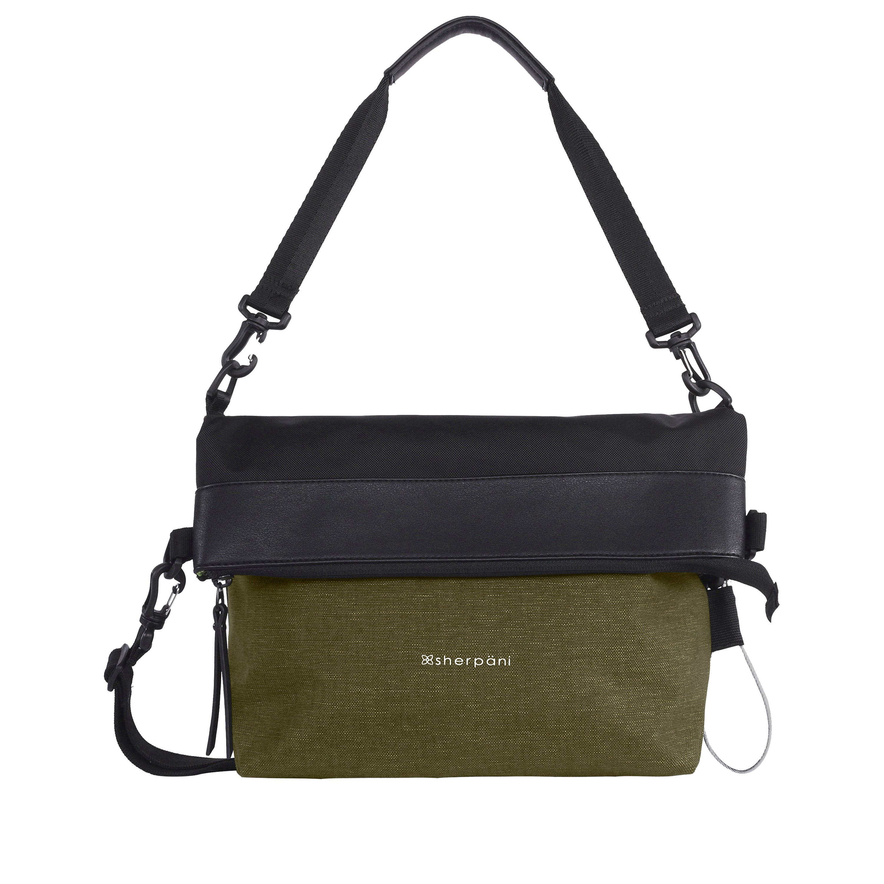 Green Anti Theft Reversible Crossbody (front view) with anti-theft features