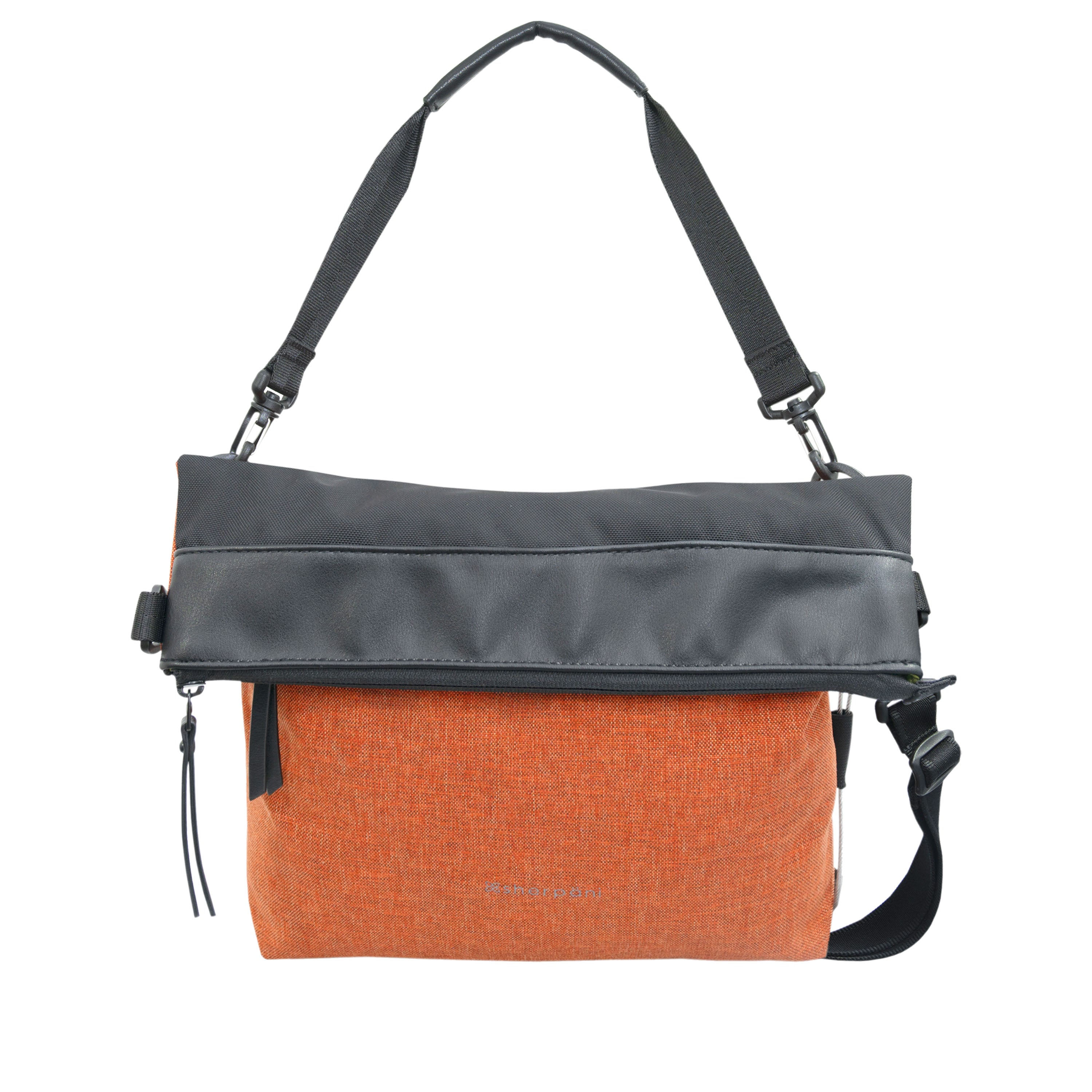 Orange Anti Theft Reversible Crossbody (front view) with anti-theft features