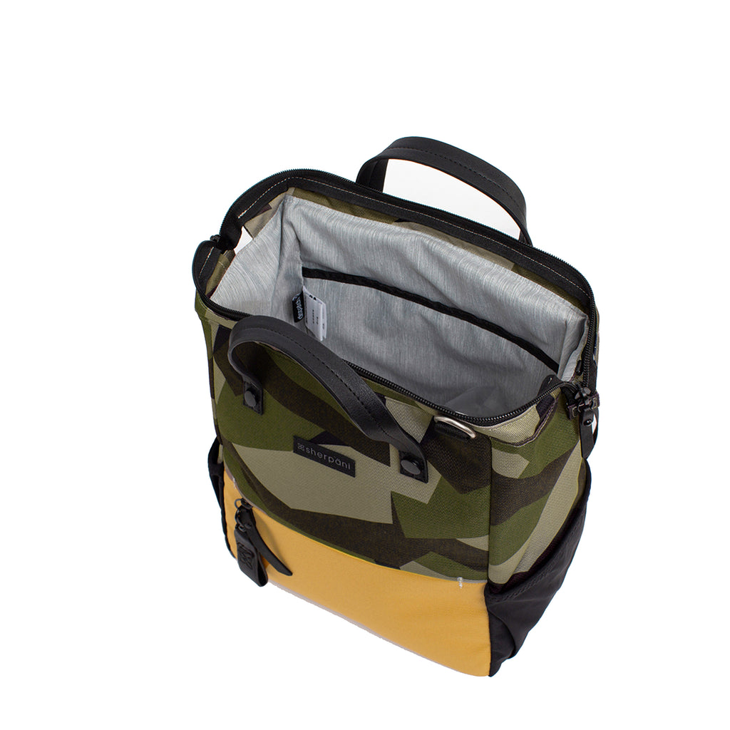 Camo & Yellow Handbag/Crossbody/Backpack (interior main zipper compartment) made with recycled materials
