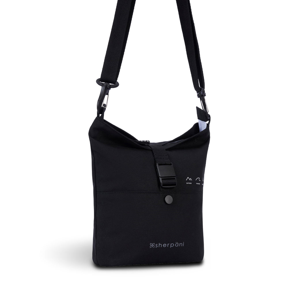Black Convertible Backpack/Crossbody (3/4 Side) made with recycled materials