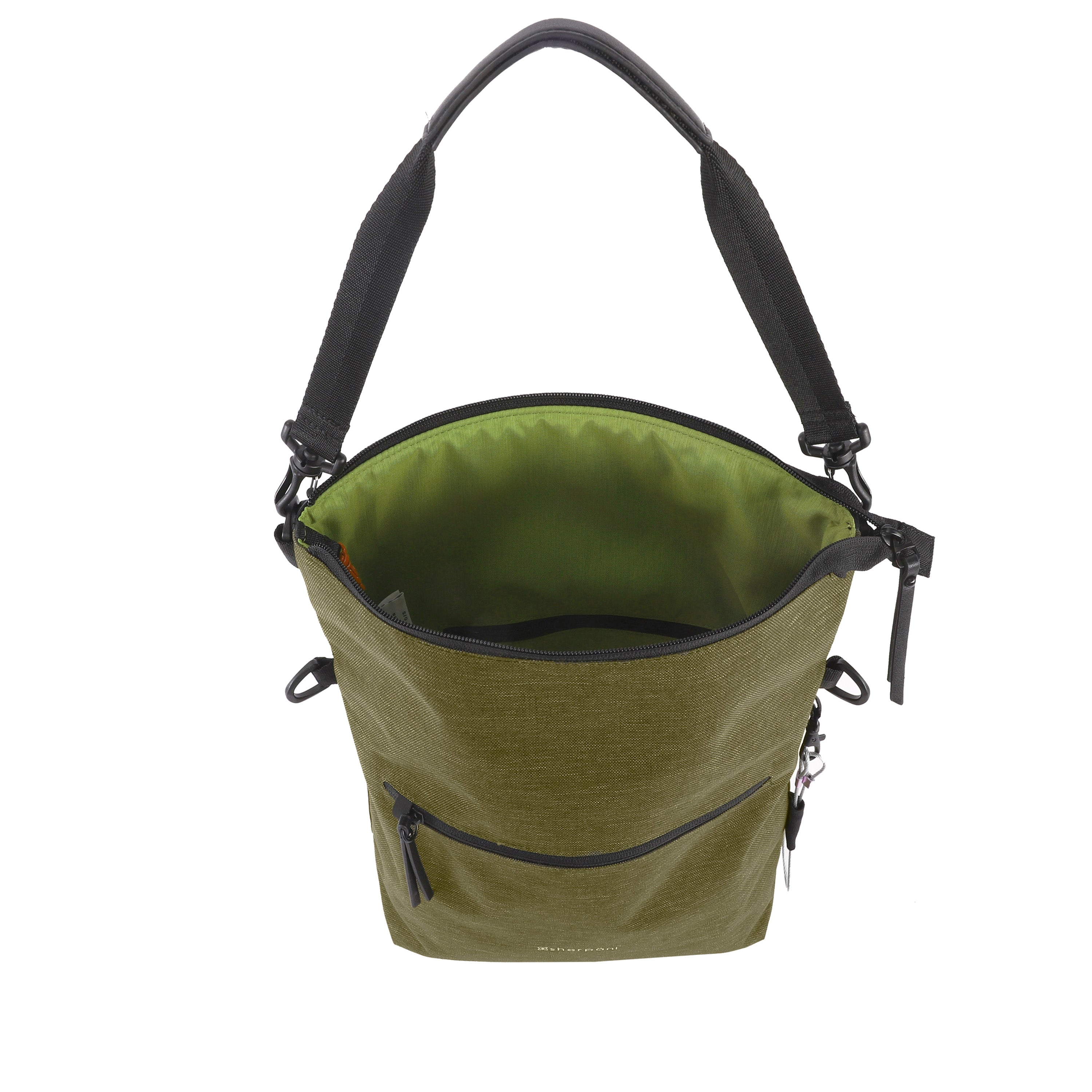 Green Anti Theft Reversible Crossbody (back viewinterior main zipper compartment) with anti-theft features