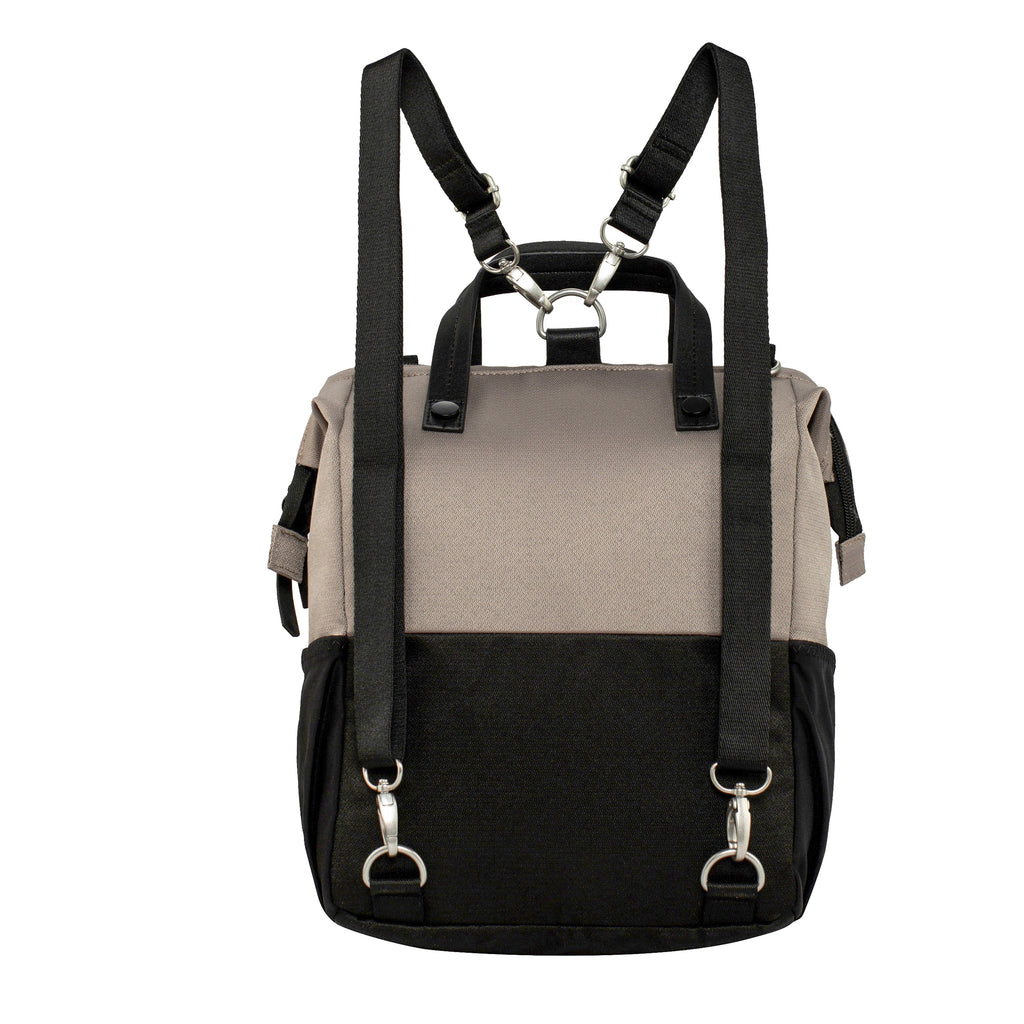Light tan Handbag/Crossbody/Backpack (back view) made with recycled materials