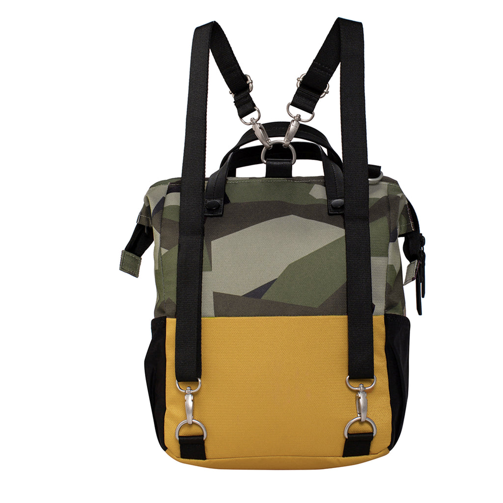 Camo & Yellow Handbag/Crossbody/Backpack (back view) made with recycled materials