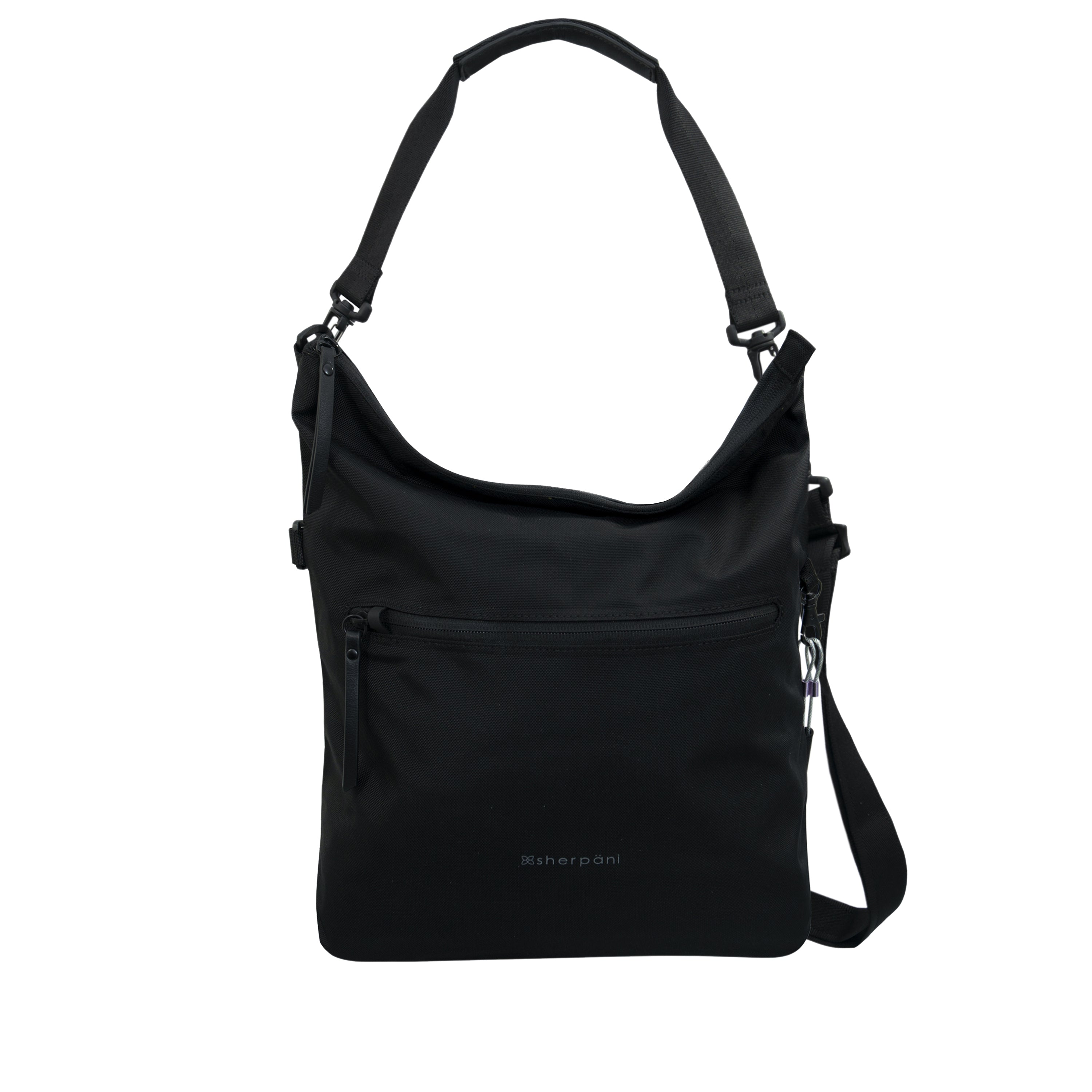 Black Anti Theft Reversible Crossbody (frontview) with anti-theft features