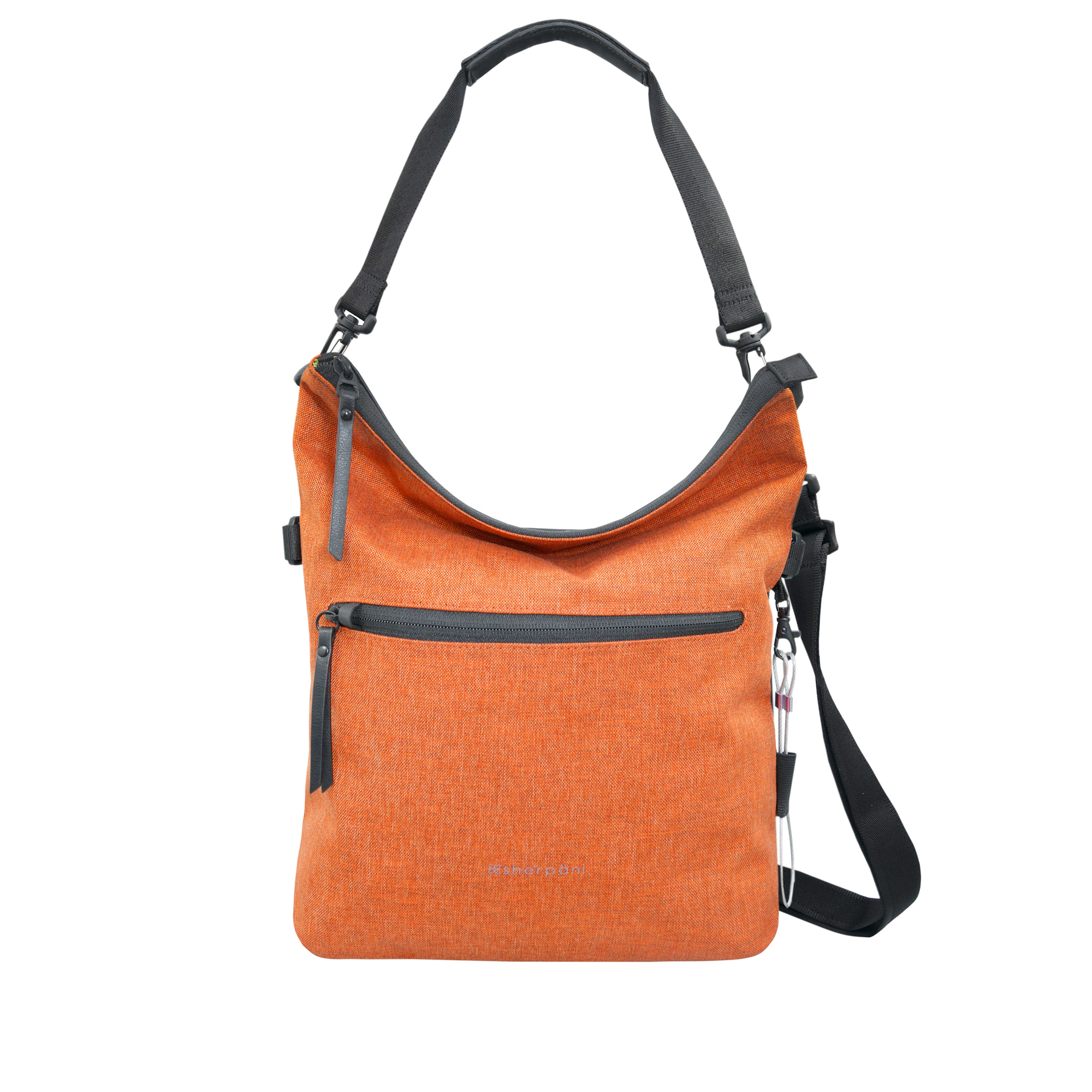 Orange Anti Theft Reversible Crossbody (back view) with anti-theft features