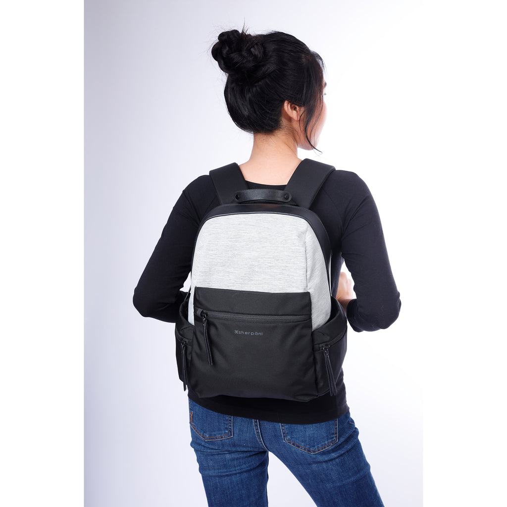 White Anti-theft Backpack (as backpack) with anti-theft features