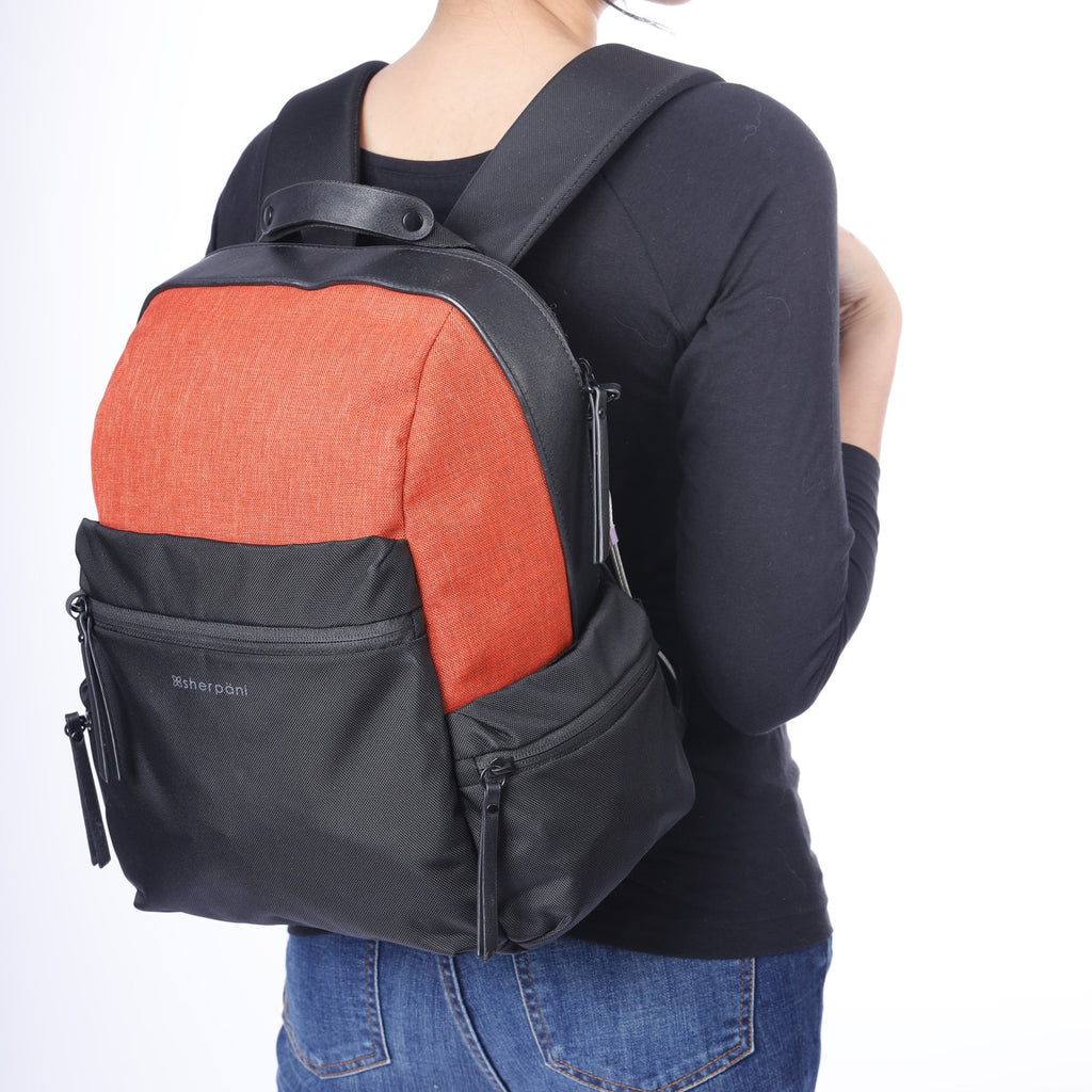 Orange Anti-theft Backpack (as backpack) with anti-theft features