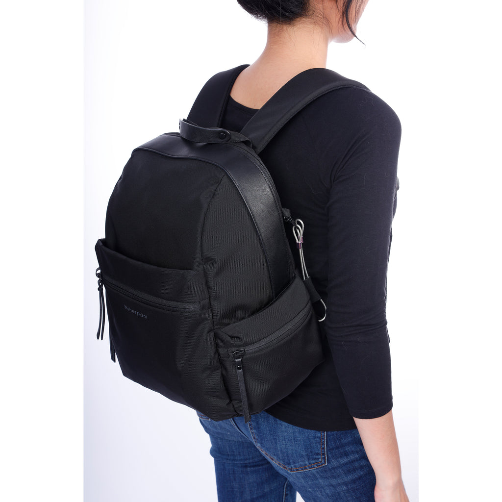 Black Anti-theft Backpack (as backpack) with anti-theft features