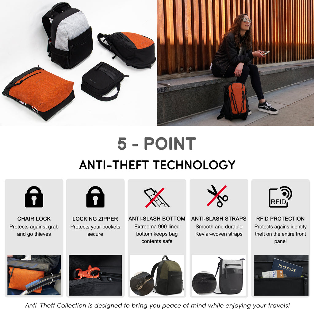 Orange Anti-theft Backpack with anti-theft features