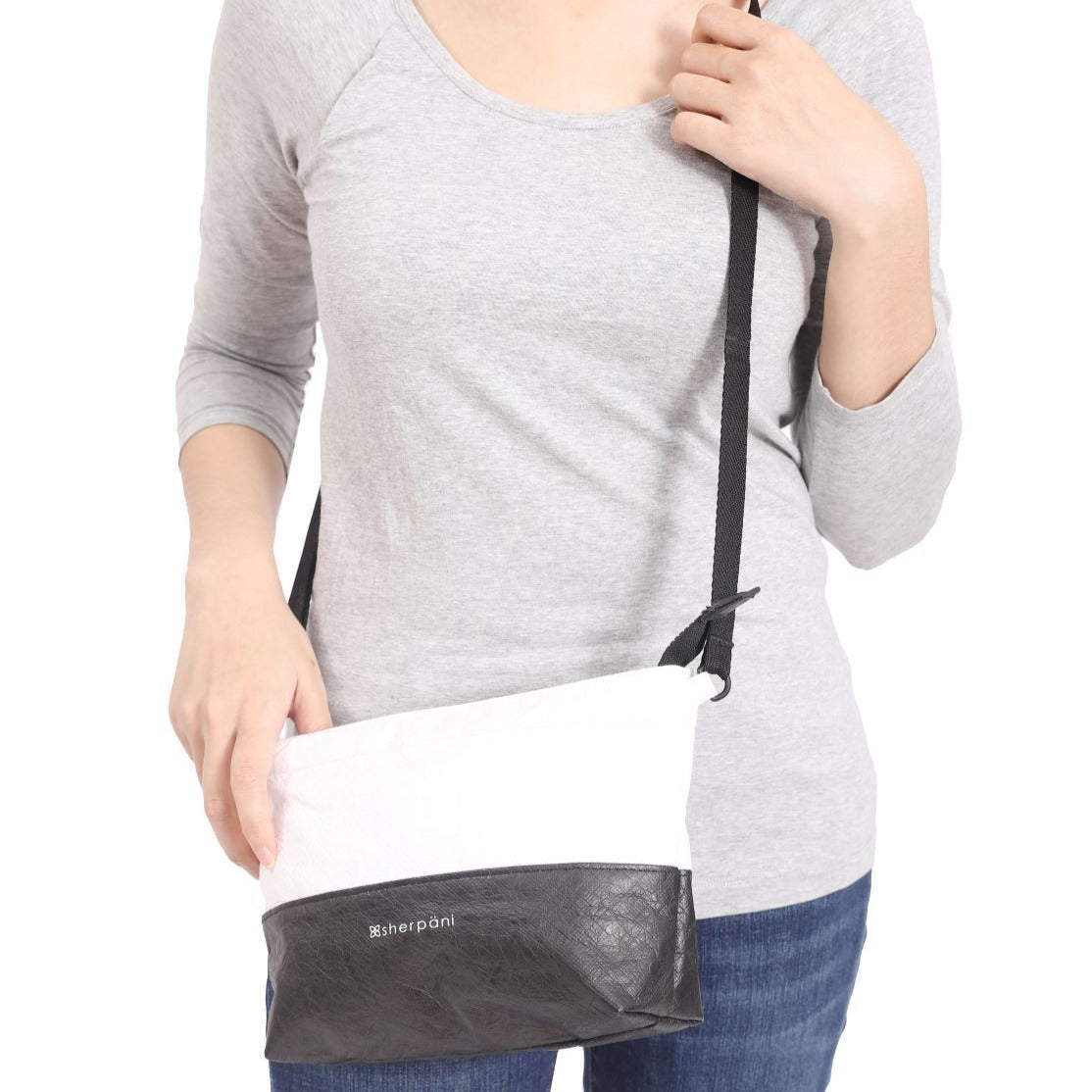 Black & White Convertible Mini Crossbody and Wristlet (as crossbody bag) made with tyvek fabric