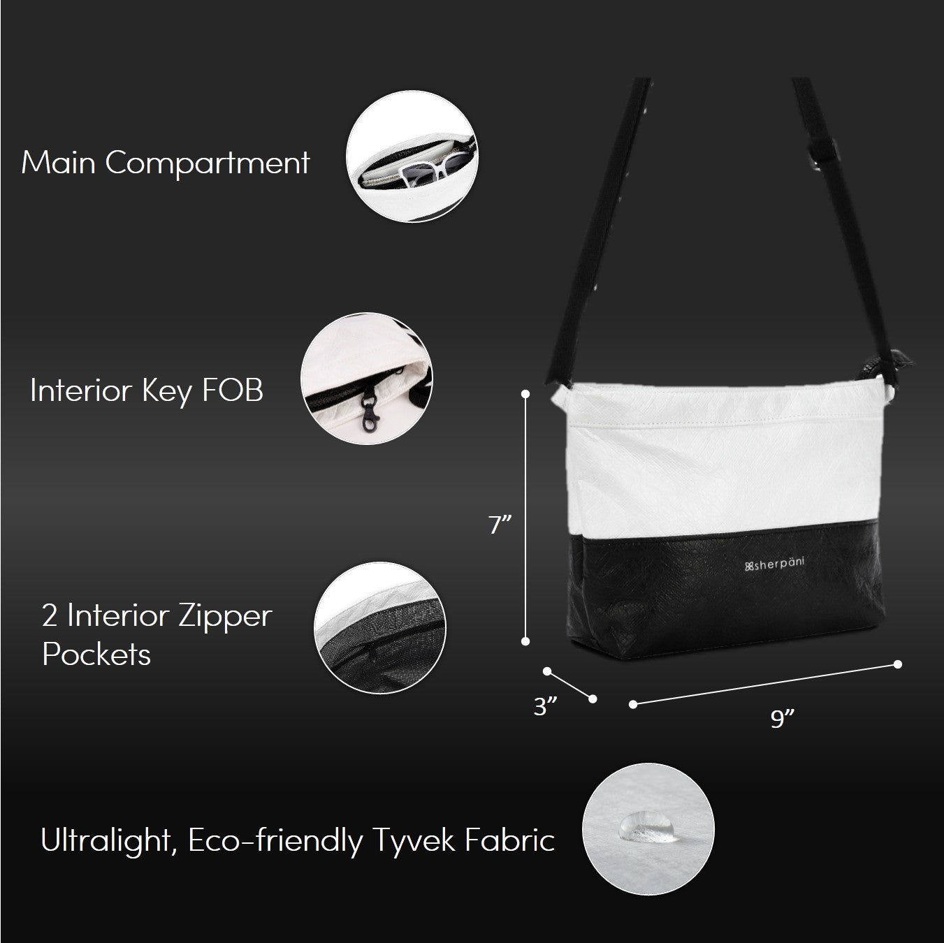 Black & White Convertible Mini Crossbody and Wristlet (dimensions and features) made with tyvek fabric