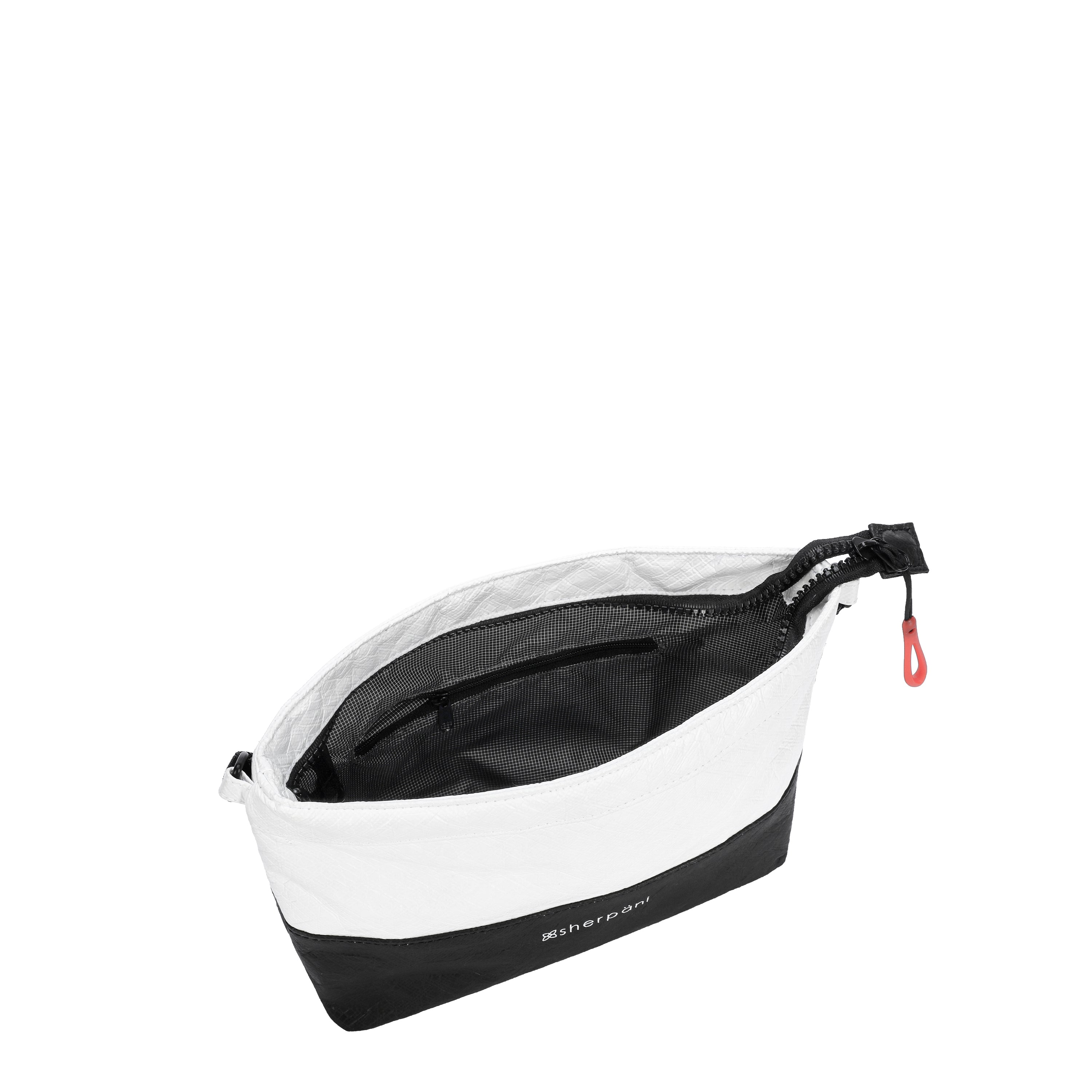 Black & White Convertible Mini Crossbody and Wristlet (interior main zipper compartment) made with tyvek fabric