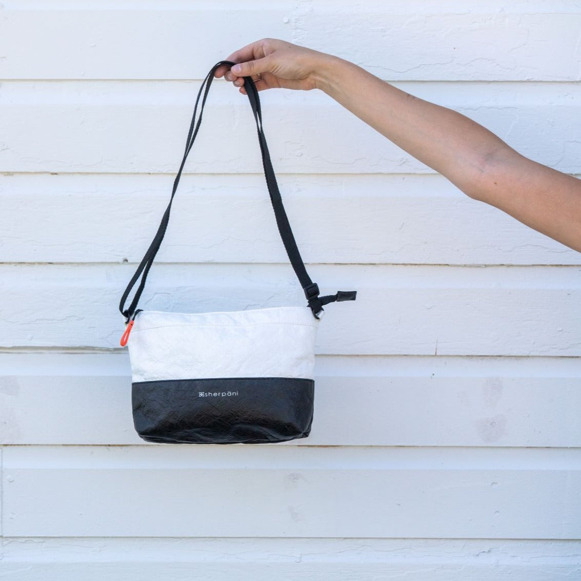 Black & White Convertible Mini Crossbody and Wristlet  made with tyvek fabric