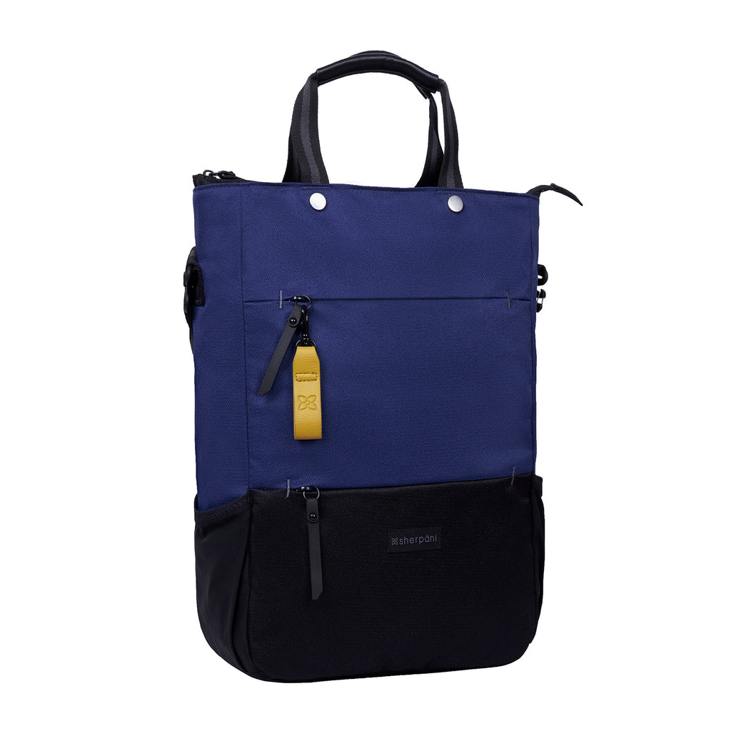 Blue & Black Convertibel Tote/Backpack andCrossbody (3/4 Side) made with recycled materials
