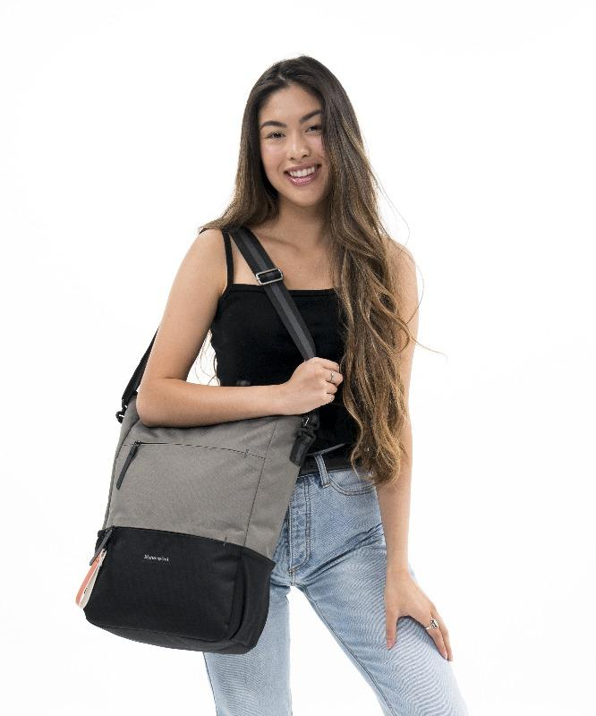 Camden Backpack and Crossbody (On model, crossbody) in Essentials Collection (Flint)