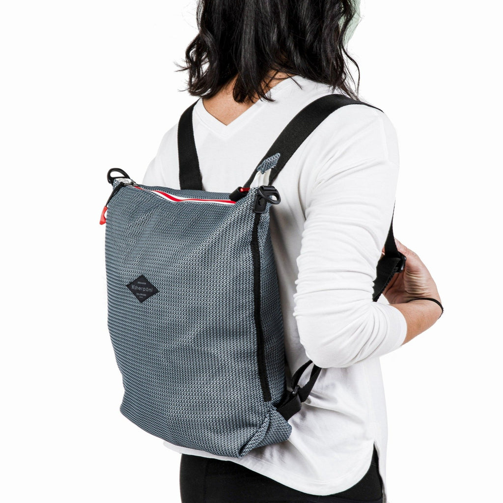 Black & Grey Convertible Backpack and Crossbody (as backpack) made with woven mesh