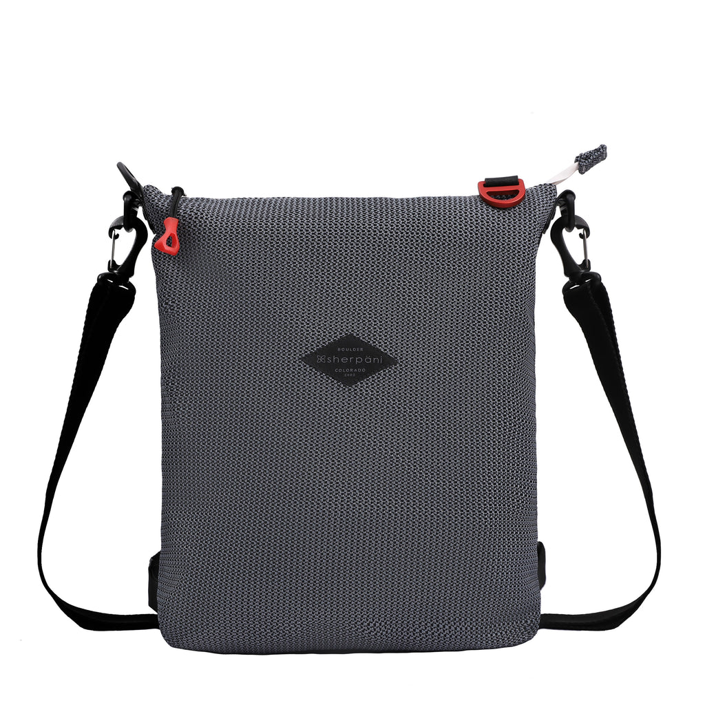 Black & Grey Convertible Backpack and Crossbody (front view) made with woven mesh