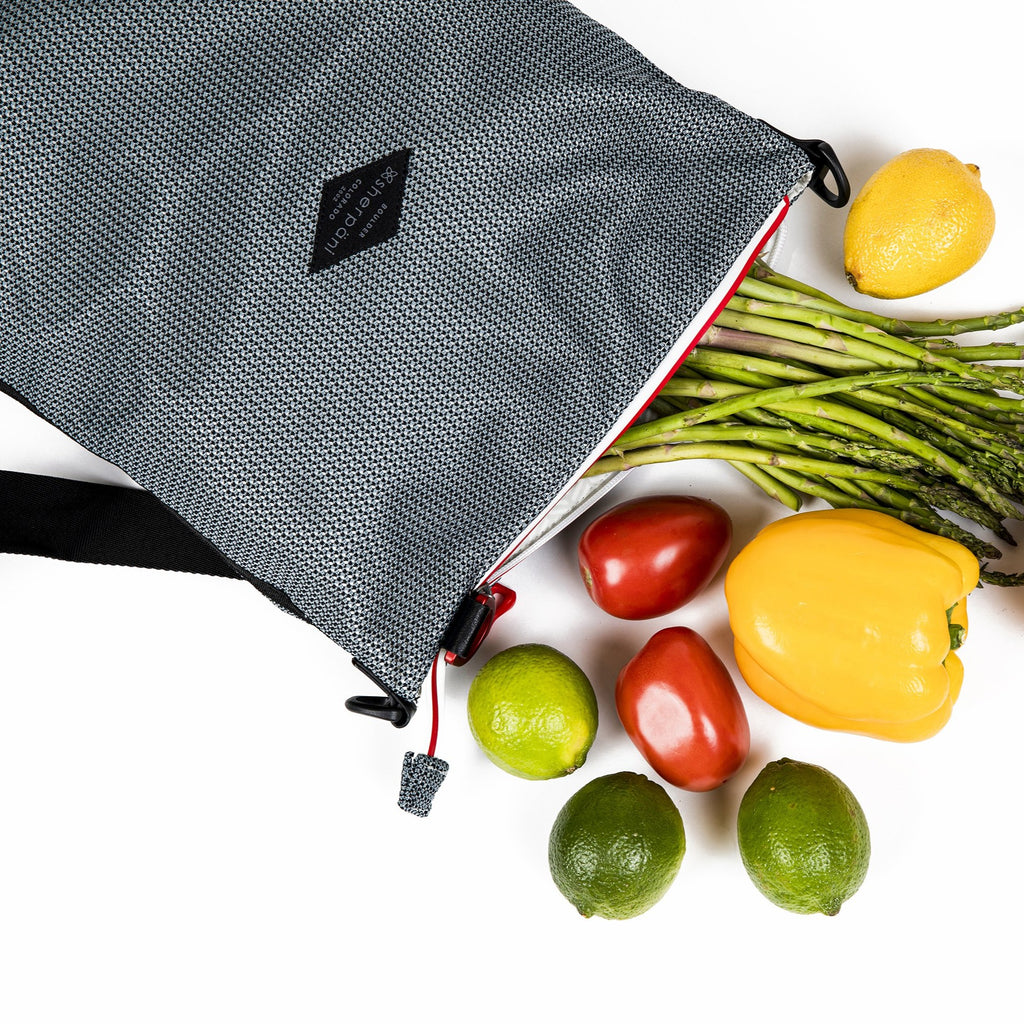 Black & Grey Convertible Backpack and Crossbody (with vegetable) made with woven mesh