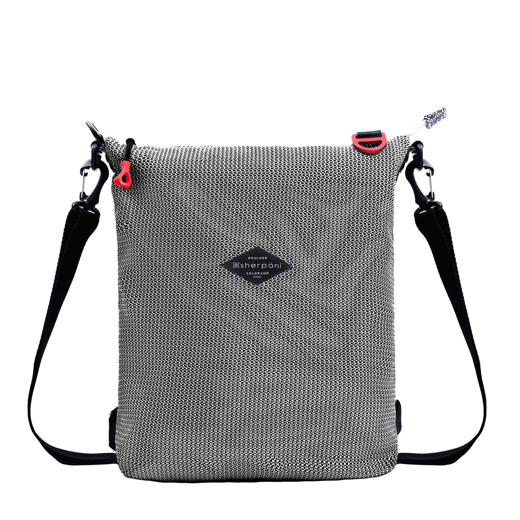 Black & White Convertible Backpack and Crossbody (front view) made with woven mesh