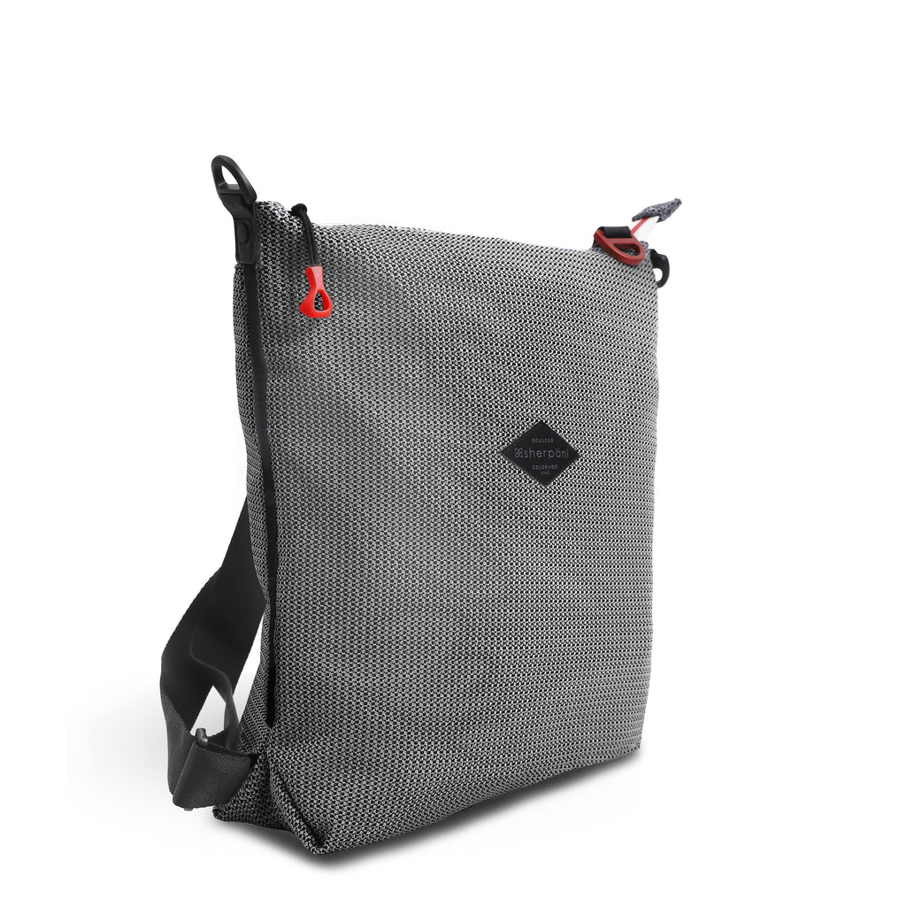 Black & White Convertible Backpack and Crossbody (3/4 Side) made with woven mesh