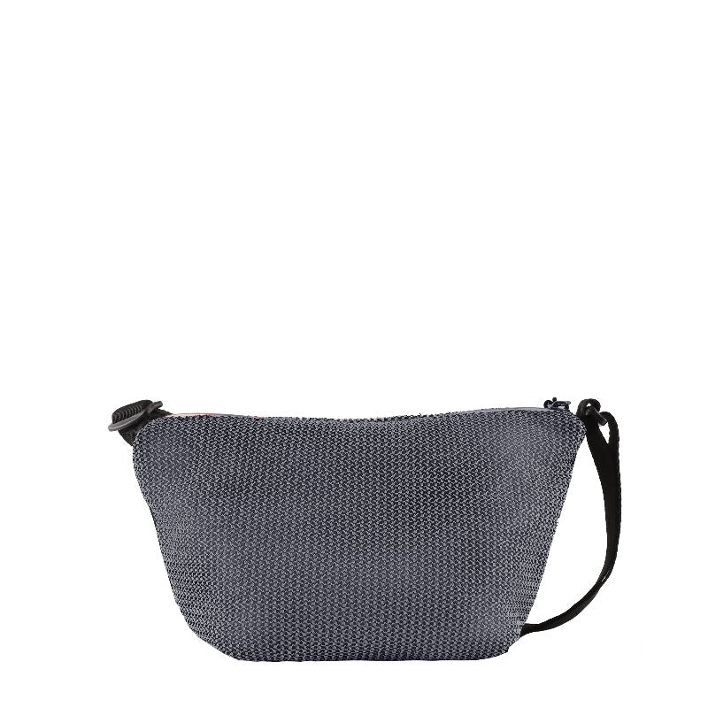 Black & Grey Mini Crossbody (back view) made with woven mesh