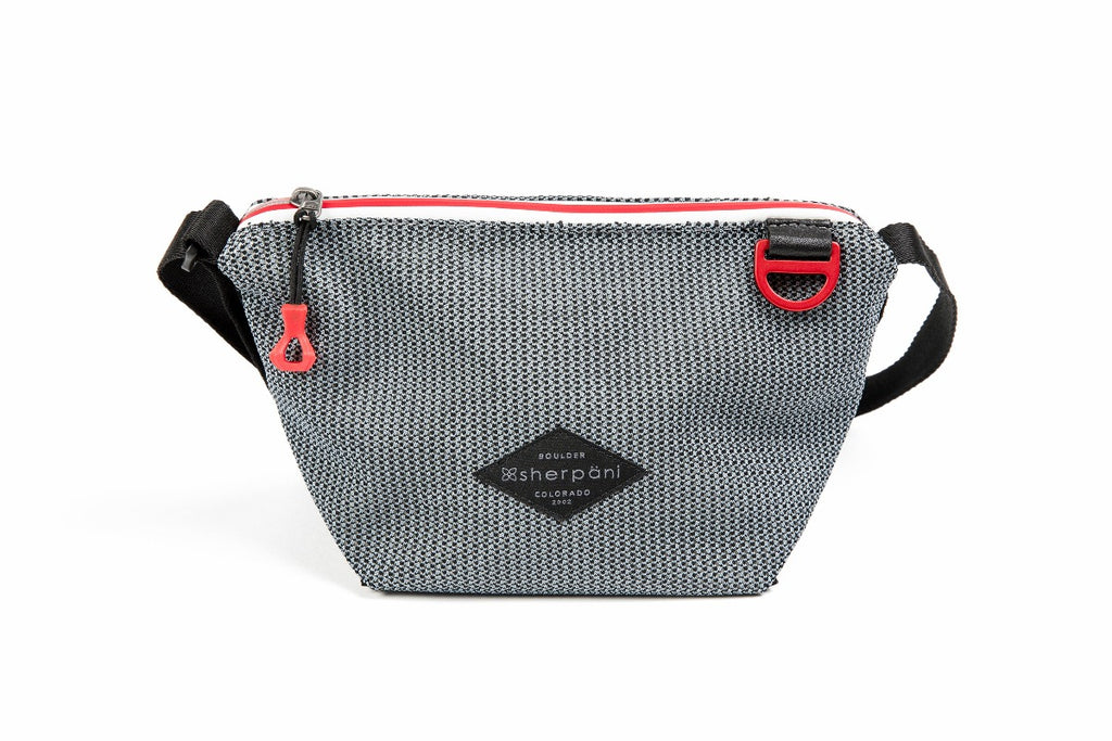 Black & Grey Mini Crossbody (front view) made with woven mesh