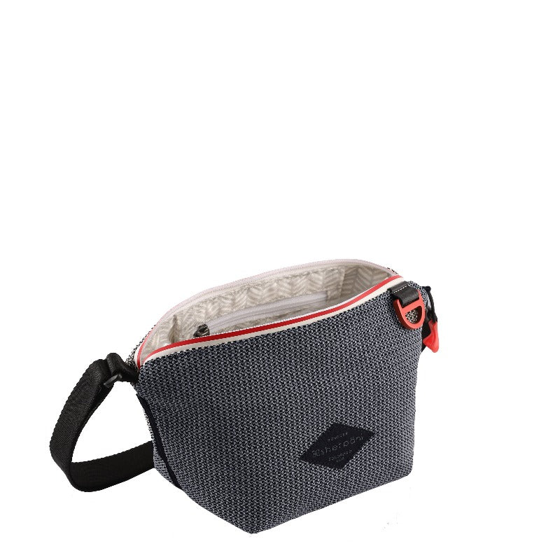 Black & Grey Mini Crossbody (interior main zipper compartment) made with woven mesh