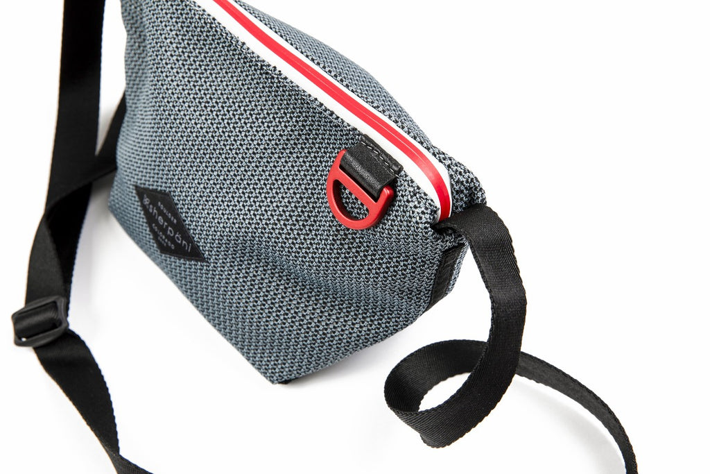 Black & Grey Mini Crossbody (interior main zipper compament made with woven mesh
