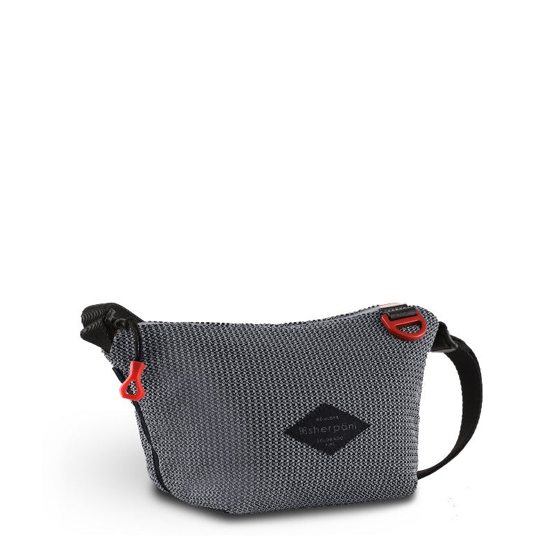 Black & Grey Mini Crossbody (3/4 Side) made with woven mesh