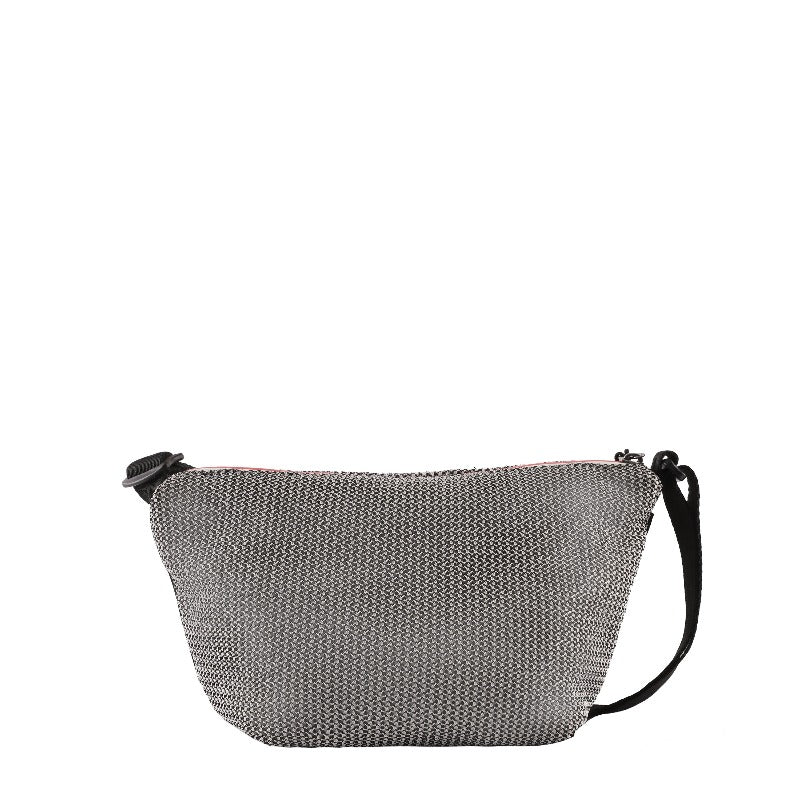Black & White Mini Crossbody (back view) made with woven mesh