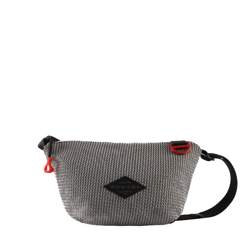 Black & White Mini Crossbody (front view) made with woven mesh