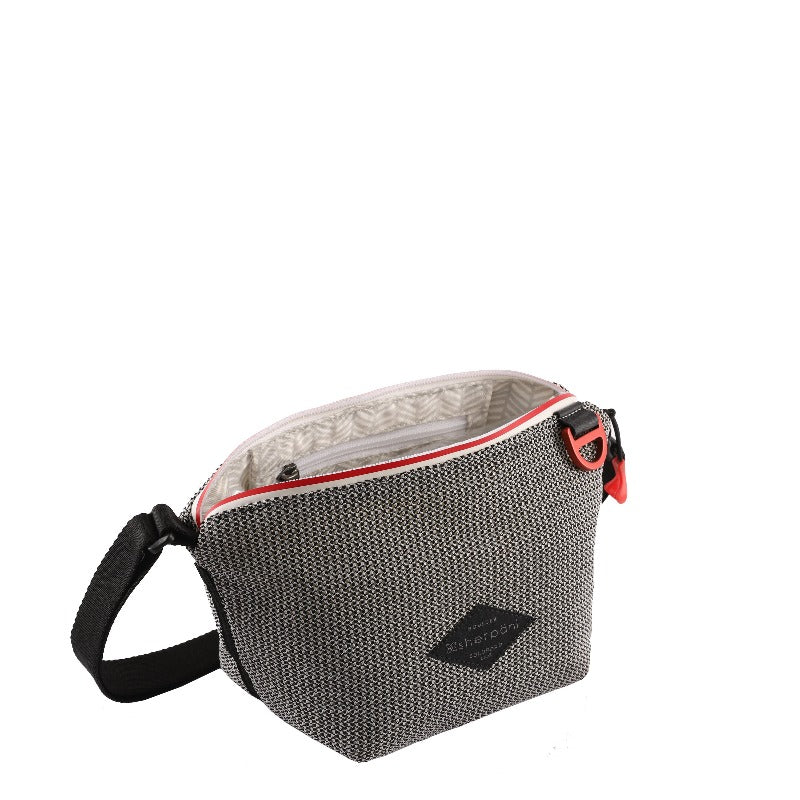 Black & White Mini Crossbody (interior main zipper compartment) made with woven mesh