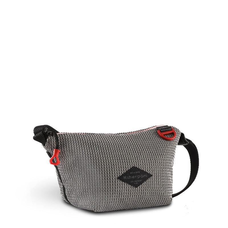 Black & White Mini Crossbody (3/4 Side) made with woven mesh