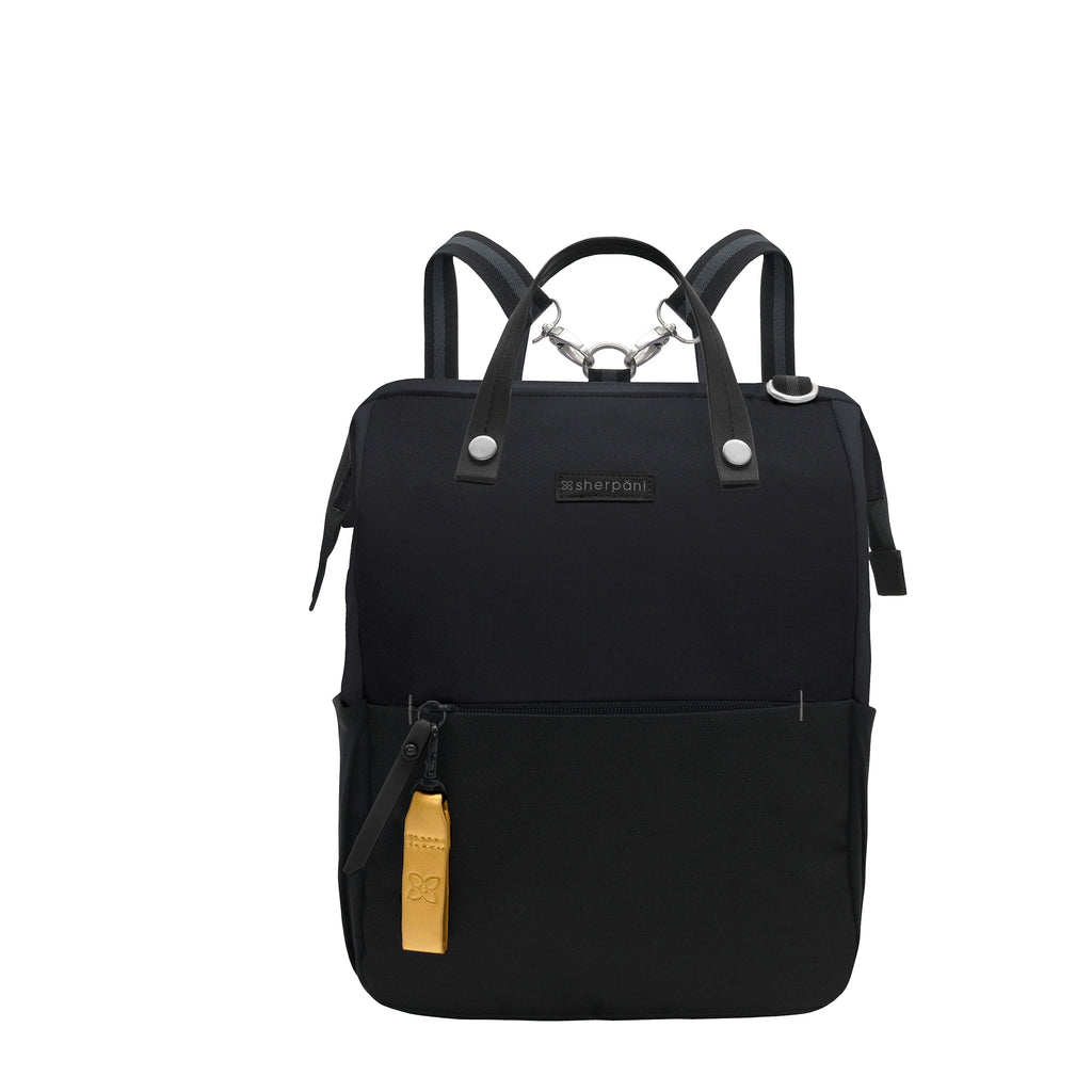 Black Handbag/Crossbody/Backpack (front view) made with recycled materials