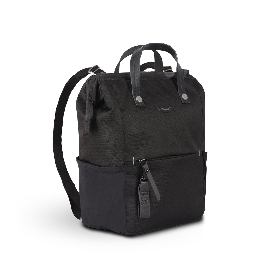 Black Handbag/Crossbody/Backpack (3/4 Side) made with recycled materials