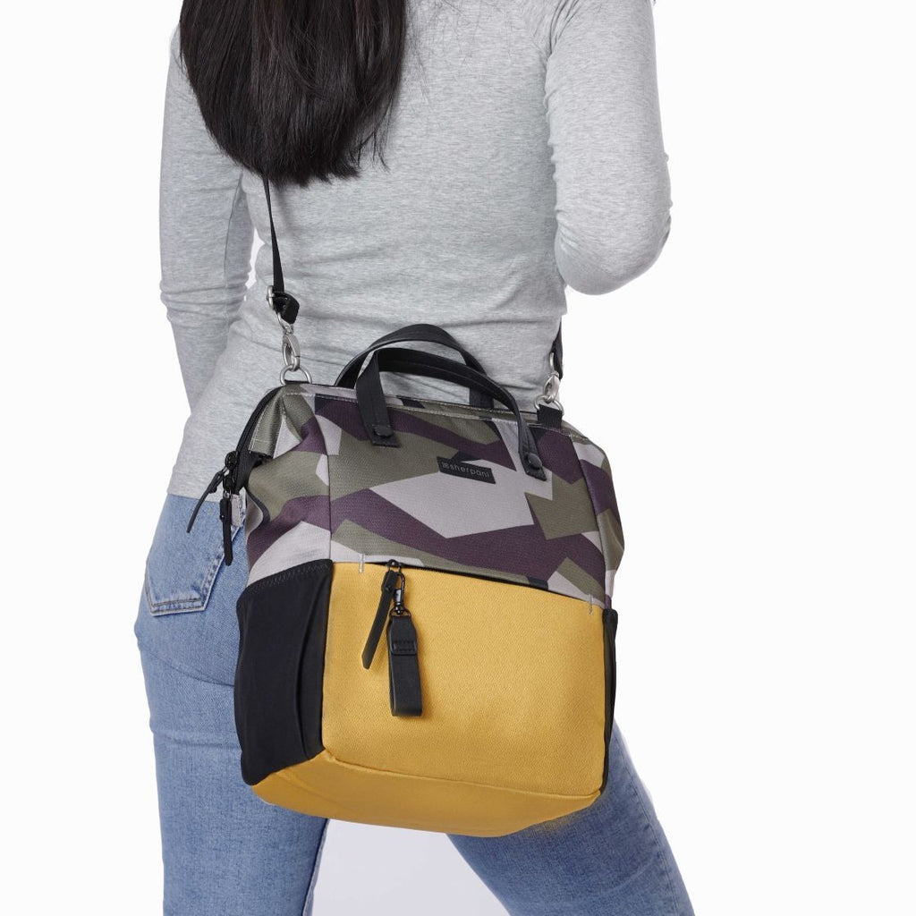 Camo & Yellow Handbag/Crossbody/Backpack (worn as crossbody) made with recycled materials