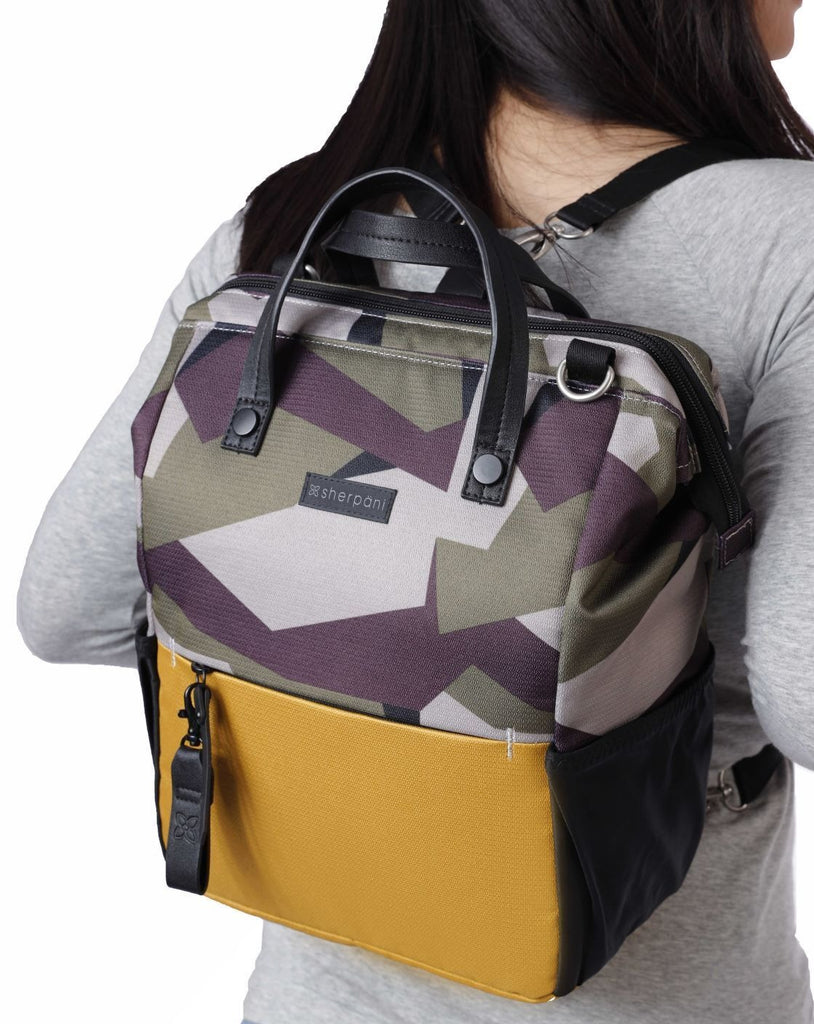 Camo & Yellow Handbag/Crossbody/Backpack (worn asbackpack) made with recycled materials