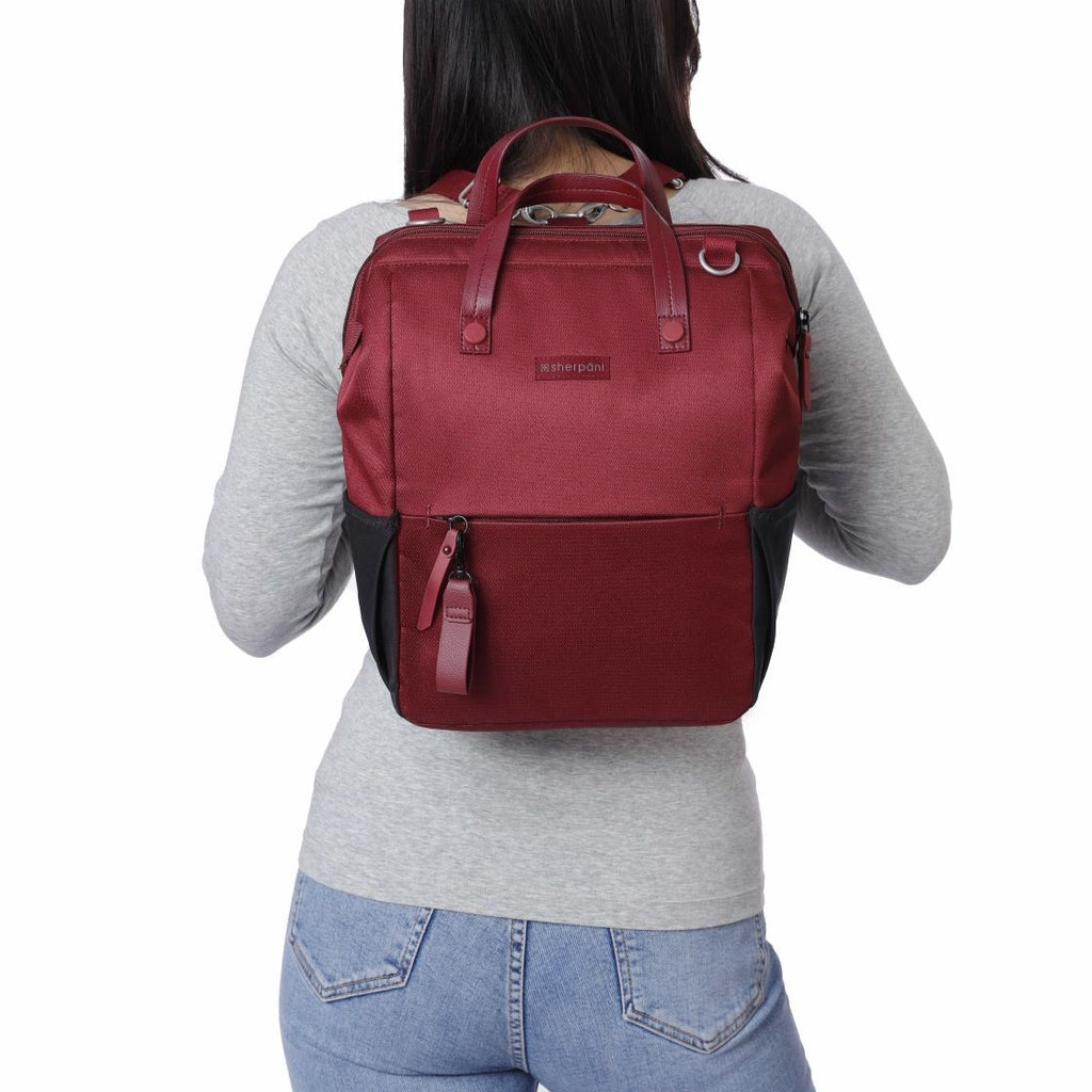 Red Handbag/Crossbody/Backpack (worn as backpack) made with recycled materials