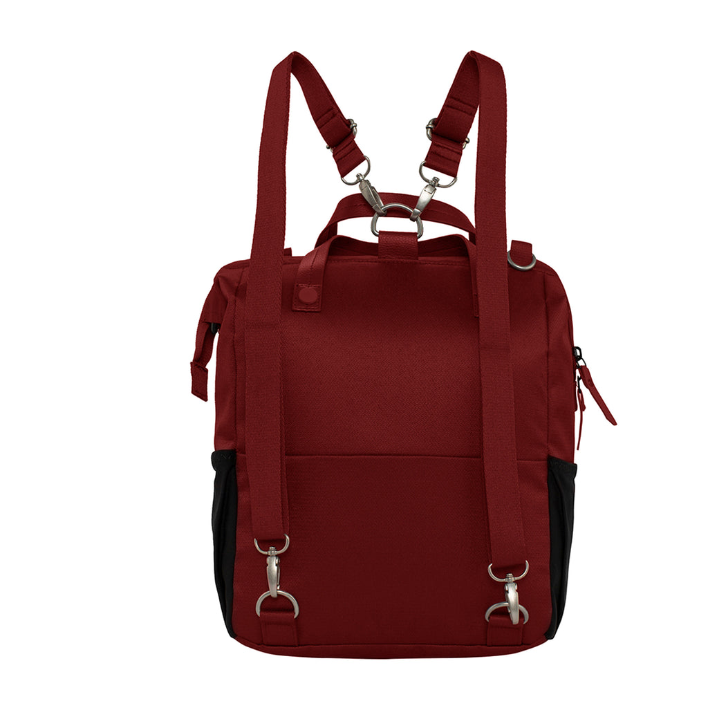 Red Handbag/Crossbody/Backpack (back view) made with recycled materials